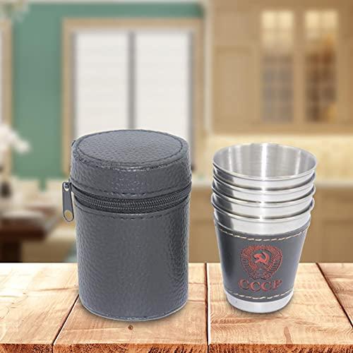 Gidenfly Juego de 4 vasos de acero inoxidable de 70 ml, reutilizables, para exteriores, camping, viajes, apilables, vasos de vino, vasos de whisky con funda de piel sintética