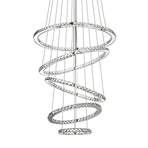 """MEEROSEE Crystal Chandeliers Modern LED Ceiling Lights Fixtures Pendant Lighting Dining Room Chandelier Contemporary Adjustable Stainless Steel Cable 5 Rings DIY Design D31.5""""+27.6""""+23.6""""+19.7""""+11.8"""""""