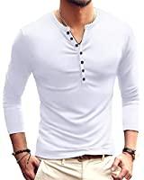 YTD Mens Casual Slim Fit Basic Henley Long Sleeve Fashion T-Shirt XXL White