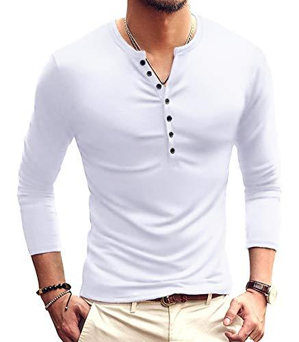 YTD Mens Casual Slim Fit Basic Henley Long Sleeve Fashion T-Shirt S White