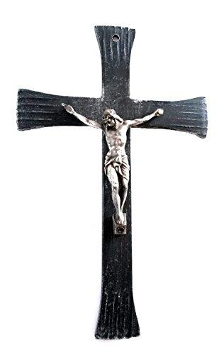 Lorenz Ferart 6057 - Crucifijo de Hierro Forjado Negro con Cristo Plateado