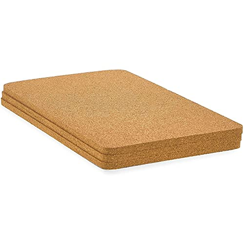 Juvale Rectangle Cork Trivet Set for Dining Table and Hot Dishes (12.5 x 6.6 in, 3 Pack)