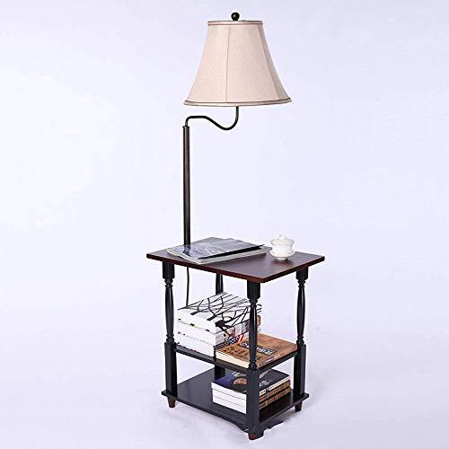 SEESEE.U Mesa de Noche con lámpara de pie combinada con Estante y Pantalla de Brazo oscilante Que se Puede Utilizar como Mesa de Centro o revistero para sofá o lámpara de Noche