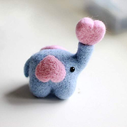 N / A Wool Roving Needlecrafts Needle Felted Felting Character Starter Kit: Lovely Elephant