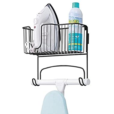 mDesign Wall Mount Ironing Board Holder with Storage Basket for Clothes Iron for Laundry Room, Basement - Matte Black