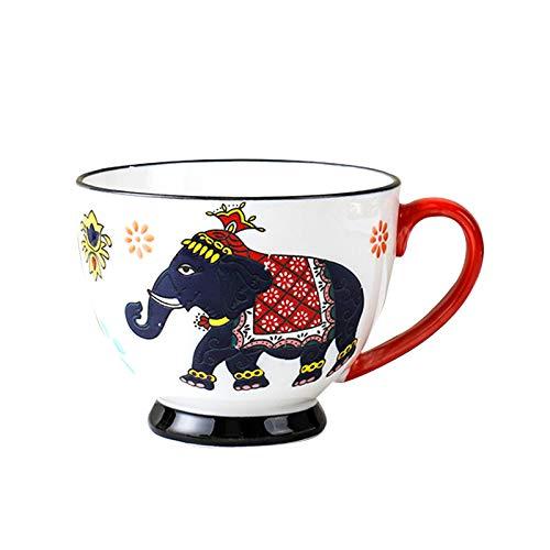 U/N Tassen Keramik Kaffeetassen Handgemalt Jahrgang Elefanten Kaffeebecher 400ml Geschirrspüler/Mikrowelle Sicher