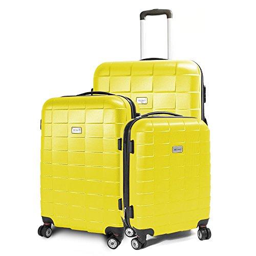 BERWIN® Kofferset 3-teilig Reisekoffer Koffer Trolley Hartschalenkoffer ABS Teleskopgriff Modell Squares (Gelb)