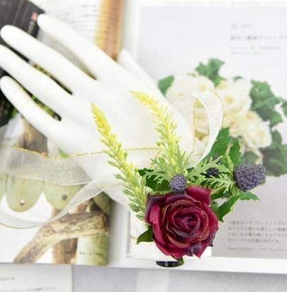Yuhualiyi123 1 Stück Hochzeit Bräutigam Boutonniere ODER Braut Hand Handgelenk Blume Künstliche...
