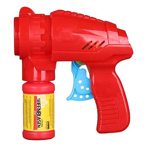 Idena 40020 Seifenblasenpistole Rot, inklusive Seifenblasenlösung 53 ml