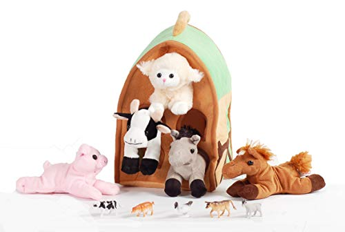 12 inch Plush Farm House Playset with 5 Stuffed Animals with Lamb, Pig, Cow, Gray Horse and Brown Horse and 5 Farm Animal Figures
