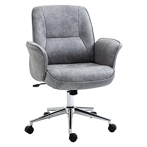 Vinsetto Bürostuhl Schreibtischstuhl Drehstuhl Home-Office-Stuhl mit Wippenfunktion höhenverstellbarer ergonomisch 360°-Drehräder modern schick Mikrofaser Schaumstoff Hellgrau 67x69x102 cm