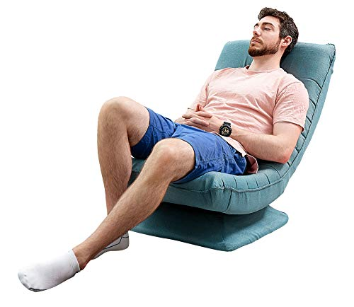 FringeKitt Multi-Purpose Floor Chair, Gaming, TV, Lounger, 360° Swivel, Folding, Ergonomic Back Support, Light Weight, Large Size for Family, Adults, Teens, Non-Assembly, Lake Blue
