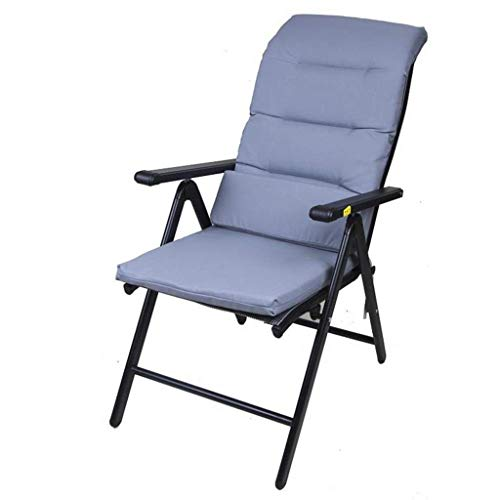 OLDJTK Sillas reclinables Plegables Sillas de jardín Sillas reclinables para tumbonas de Playa Sillas a Prueba de Intemperie Textoline Plegable (Color : Black+Cotton Pad, Size : 69 * 60 * 110cm)