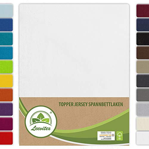 leevitex Topper Spannbettlaken Boxspring Spannbetttuch Bettlaken Jersey 100% Baumwolle 170g/m² schwere Ausführung (180 x 200 cm, Weiß)