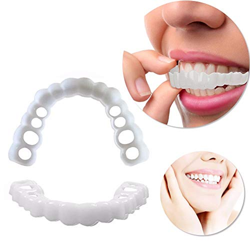 YXT Provisorischer Zahnersatz Simulation Zähne Whitening Perfekte Smile Veneers Hochwertige Natürlich Neue Bequeme Kosmetisches Geeignet für alle Männer und Frauen for Top and Bottom