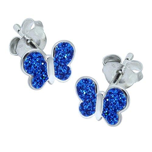 Blue Butterfly Earrings - Sterling Silver - Glitter Gift