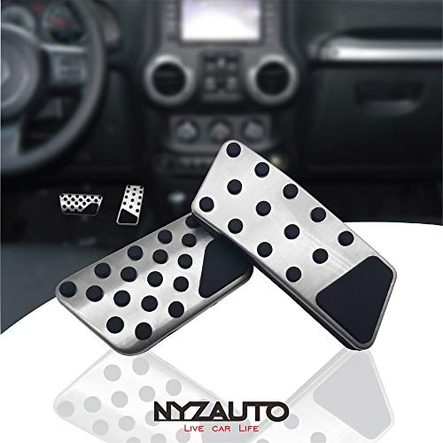 NYZAUTO Compatible with Non-Slip Foot Pedal Pads Jeep Wrangler 2007-2018 JK JKU ,AT No Drilling Aluminum Brake and Accelerator Pedal Covers