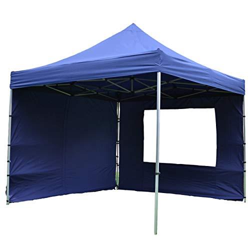 Nexos SM936150_SL01 Profi Faltpavillon Partyzelt Pavillon 3x3 m mit 4 Seitenteilen-hochwertige Ausführung-wasserdichtes Dach 270 g/m² + Tragetasche – Farbe: blau