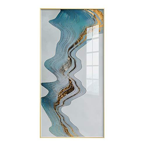 Dekorative Malerei Moderne unbedeutende Atmosphäre des Eingangsportals der dekorativen Malerei Chinesischer vertikaler Plexiglastür-Korridorgang der chinesischen Art UOMUN (Color : Metallic)