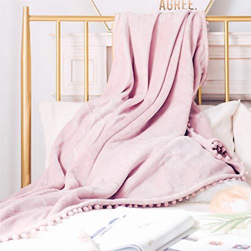 Manta con pompones, acogedora y suave manta de forro polar para sofá o cama, manta gruesa y cálida y esponjosa, de la marca DEZENE, Rosado, 50' x 60', Throw