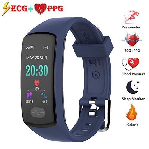 Fitness Tracker, Braccialetto Intelligente Bluetooth con Pressione Sanguigna ECG + PPG,Frequenza Cardiaca Zeerkeer Tracker da Polso con Contapassi Monitor del Sonno per Uomo Donna Bambino (Blu)