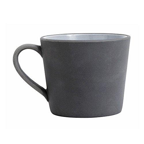 Steingut Becher schwarz weiß von NORDAL mit Henkel