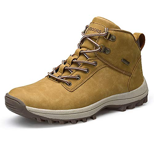 JIANKE Botas de Senderismo para Hombre Zapatillas de Trekking Antideslizante Aire Libre Zapatos Deportes(Amarillo,41)