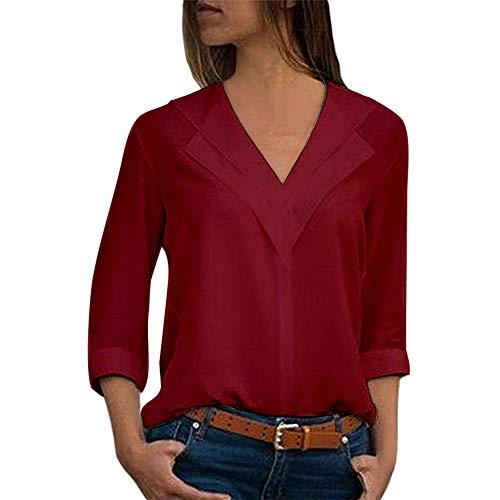 Chemisier Femme Dentelle Tunique Haut Femme Chic Manches Longues Tops Blouse Pull Col Rond Patchwork T Shirt Casual T-Shirt Chemisier Blouse Covermason (Rouge, 3XL)