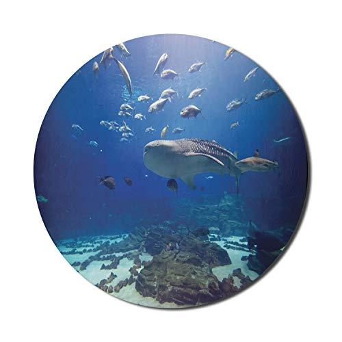 Ocean Whale Mouse Pad für Computer, Foto aus dem Atlanta Aquarium Verschiedene Fische und große Säugetiere, rundes, rutschfestes, dickes, modernes Gaming-Mousepad aus dickem Gummi, 8 'rund, kobaltblau