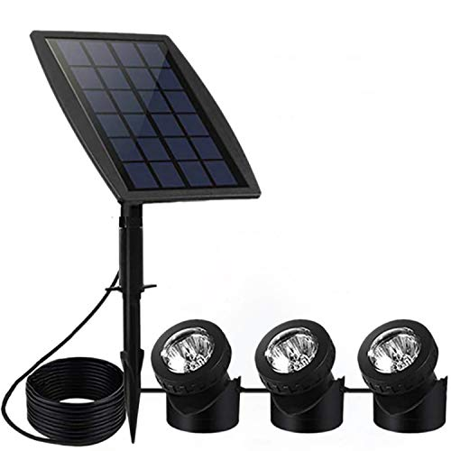 FEIFEIER Solar Pond Spotlights,Weatherproof Solar Powered Pure White Color LED Landscape Spotlight 3 Lamps Adjustable Lighting Angle Bright Security Lighting for Garden Pool Pond Outdoor Decoration