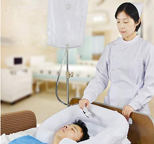 Lavabo inflable de lavado de cabello en la cama - Lavabo de champú portátil Baño de cama Ayuda auxiliar asistida para discapacitados, ancianos, pacientes encamados, embarazadas (kit de 4)