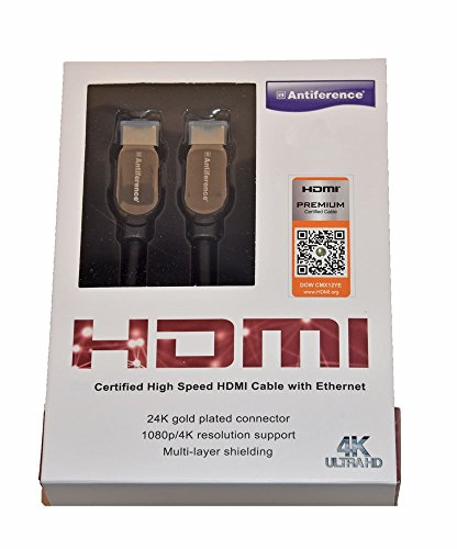 Antiferentie HDMI Premium gecertificeerde High Speed Kabel met Ethernet voor Feature Rich 4K/UltraHD Content 1m Goud