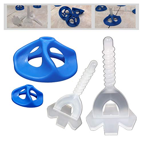 Gewindelaschen Nivelliersystem Fliesen Nivellierhilfe Basis Set - Levello 1-3 mm Fugenbreite Verlegehilfe für Fliesenstärke 3-20 mm (400 Laschen, 200 Hauben, 3,0mm)