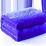 Fancy Walas Presents Velvet Floral Embossed Super Soft Heavy Double Bed Mink Blanket for Winter (Navy)
