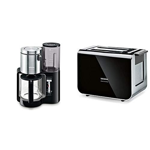 Siemens TC86303 Kaffeemaschine, 1160 Watt, 10-15 Tassen, schwarz & TT86103 Toaster / 860 Watt / für 2 Scheiben / wärmeisoliertes Gehäuse / schwarz