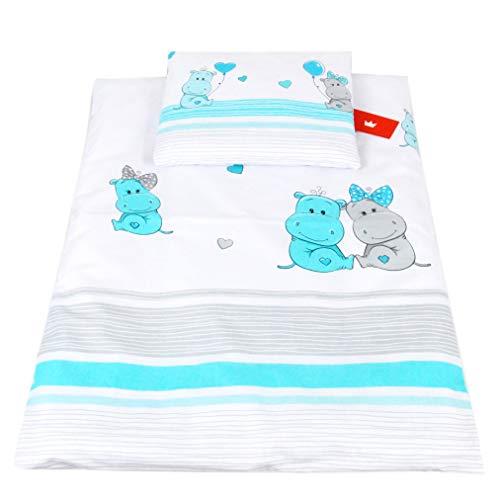 BABYLUX 2 tlg. Set Bezug für Kinderwagen Stubenwagen oder Wiege Garnitur Bettwäsche Kissen Decke 60 x 78 cm (108. Hippo Turkis)
