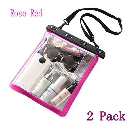 2-Pack Multipurpose Single Shoulder Goods Outdoor Waterproof Bag, Beach Bag, Cell Phone Miscellaneous Bag, with Neck Strap is the best way to keep your cell phone and valuables safe and dry (Rose Red)