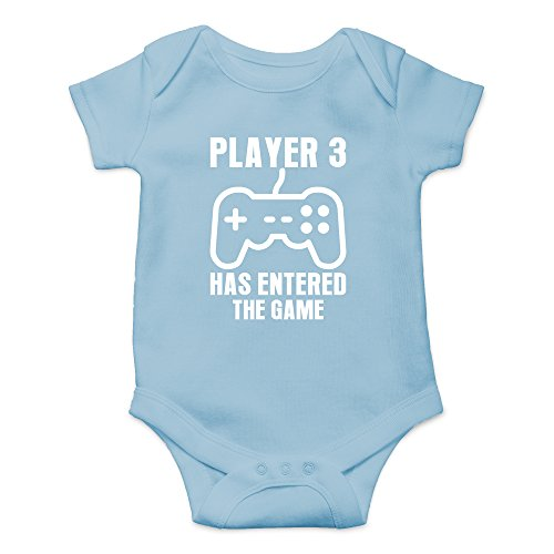 Crazy Bros Tee's Player 3 Has Entered The Game - Gamer Baby Funny Cute Novelty Infant One-Piece Baby Bodysuit (6 Months, Light Blue)