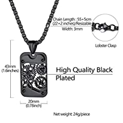 Rotatable Gear Mechanical Style Dog Tag Necklace For Men, Steampunk Style, Wheat Chain(55CM+5CM), Black Plated Stainless Steel Military Jewellery Army Card Pendant Necklace (Gift Packaging), RP20111H #5