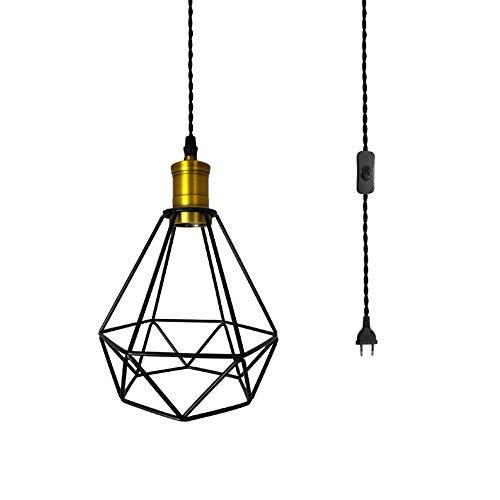 WFZRXFC Forma de bombilla en forma de jaula Luz colgante retro Viento industrial con interruptor de enchufe Candelabro Dispositivo de iluminación ajustable de metal Accesorio de iluminación Estilo rús