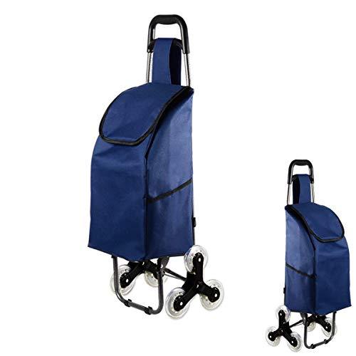 Chariot de courses pliable, chariot pliable à 3 roues, chariot descalade, pliable, grande capacité, facile à monter les escaliers, pour le shopping, le pique-nique, etc. (tout bleu)