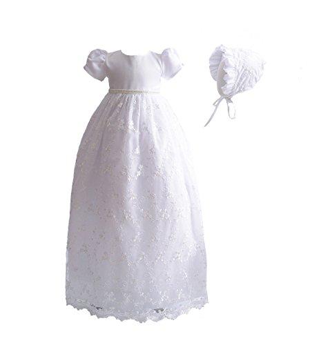 Cinda Baby-Mädchen-Spitze-langes Taufkleid mit Mütze, Weiß, 62-68 (Herstellergröße: 6M)