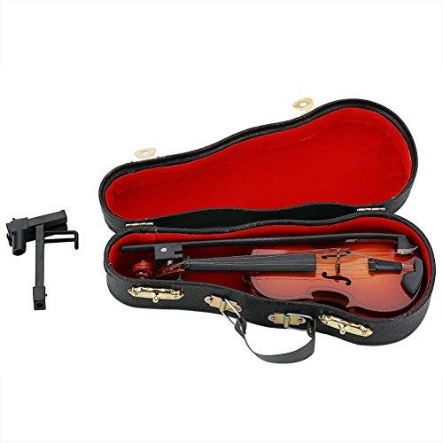 Zerodis Mini Violine Holz Musikinstrument Modell Puppenhaus Dekor Zubehör mit Bogen Stand Support und Geigenkasten für Kinder