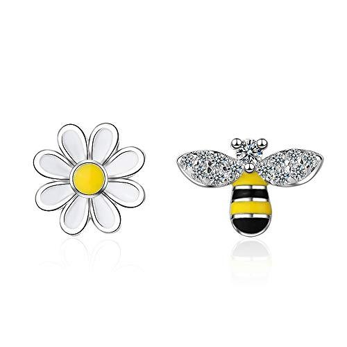 XINTIAN Stud Earrings 925 Sterling Silver Asymmetry Bee Stud Earrings For Women Party Gift Prevent allergy Jewelry