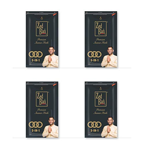 Zed Black 3 In 1 Premium incense Sticks - Natural fragrance sticks for Refreshing and Alluring Environment - Pack of 4