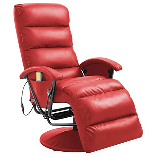 vidaXL Sillón Relax Masaje Calor Lumbar Reclinable Piel Sintética Reposapiés Butaca Abatible Relajación Eléctrica Vibración Confort Imitar Cuero Rojo