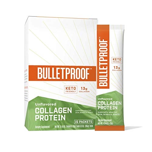 Unflavored Collagen Protein Powder GoPacks, 12g Protein, 15 Pack, Bulletproof Grass Fed Collagen Peptides and Amino Acids for Healthy Skin, Bones and Joints