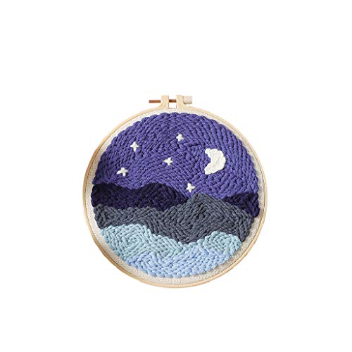 Barcley Poke Embroidery Kit Punch Needle Embroidery Starter Kits DIY Knitting Wool Handcraft Latch Hook Craft Kit Rug Sewing Kit with Embroidery Hoop Yarn Rug Punch Needle Stand Moon Night