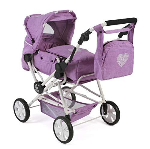 Bayer Chic 2000-Cochecito de muñecas Roadstar para niños Grandes, Transporte extraíble y Bolsa de pañales, Color Morado (562 35)