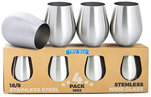 Edelstahl Weingläser - 4er Set mit Großen & Eleganten Stiellosen Weinkelchen/Stemless Goblets (500 ml) - Unzerbrechliche Trinkbecher aus Metall